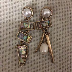 Betsy Johnson large abalone mismatch earrings